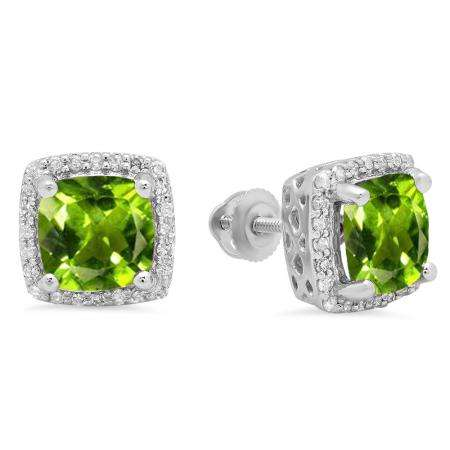 2.80 Carat (ctw) 10K White Gold Cushion Cut Peridot & Round Cut White Diamond Ladies Square Frame Halo Stud Earrings