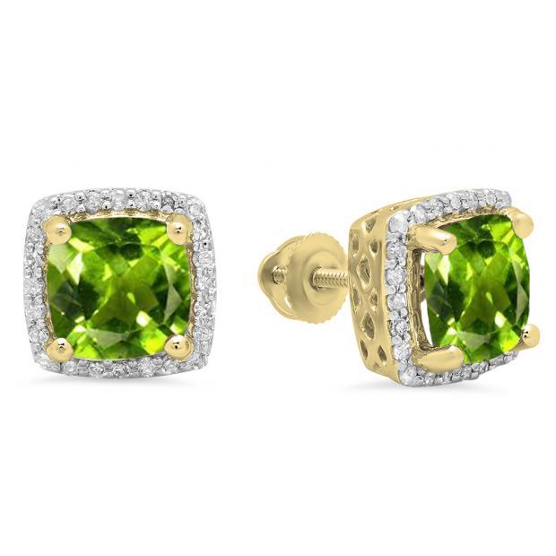2.80 Carat (ctw) 18K Yellow Gold Cushion Cut Peridot & Round Cut White Diamond Ladies Square Frame Halo Stud Earrings