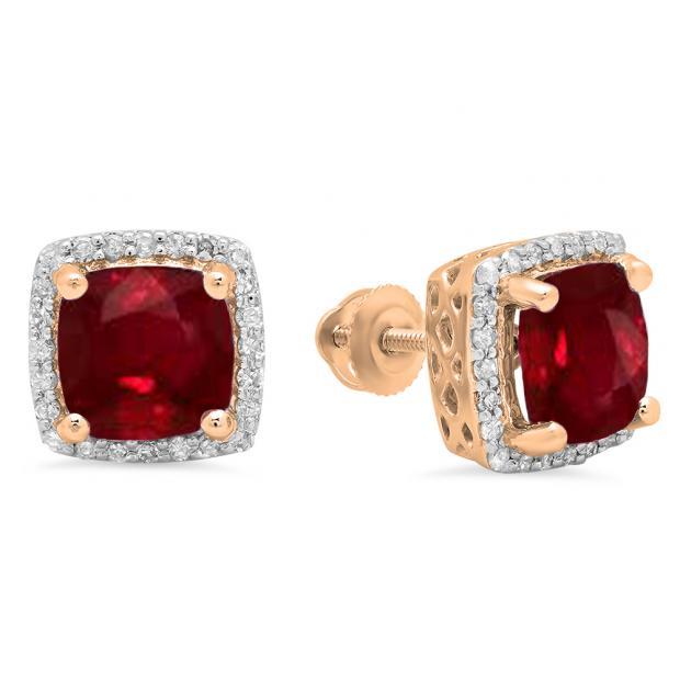 2.80 Carat (ctw) 10K Rose Gold Cushion Cut Ruby & Round Cut White Diamond Ladies Square Frame Halo Stud Earrings