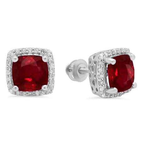 2.80 Carat (ctw) 10K White Gold Cushion Cut Ruby & Round Cut White Diamond Ladies Square Frame Halo Stud Earrings