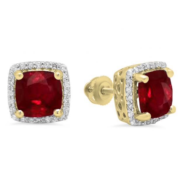 2.80 Carat (ctw) 10K Yellow Gold Cushion Cut Ruby & Round Cut White Diamond Ladies Square Frame Halo Stud Earrings