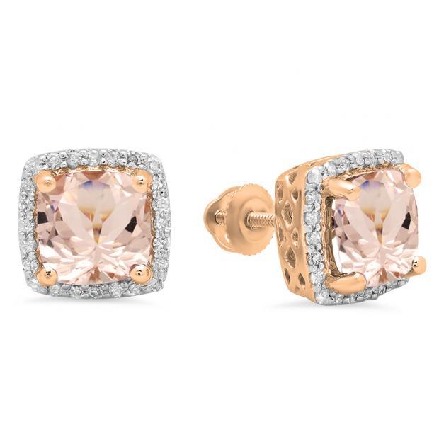 2.80 Carat (ctw) 10K Rose Gold Cushion Cut Morganite & Round Cut White Diamond Ladies Square Frame Halo Stud Earrings