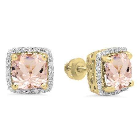 2.80 Carat (ctw) 14K Yellow Gold Cushion Cut Morganite & Round Cut White Diamond Ladies Square Frame Halo Stud Earrings