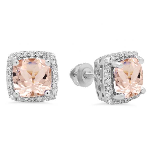 2.80 Carat (ctw) 18K White Gold Cushion Cut Morganite & Round Cut White Diamond Ladies Square Frame Halo Stud Earrings