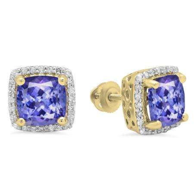 2.80 Carat (ctw) 14K Yellow Gold Cushion Cut Tanzanite & Round Cut White Diamond Ladies Square Frame Halo Stud Earrings