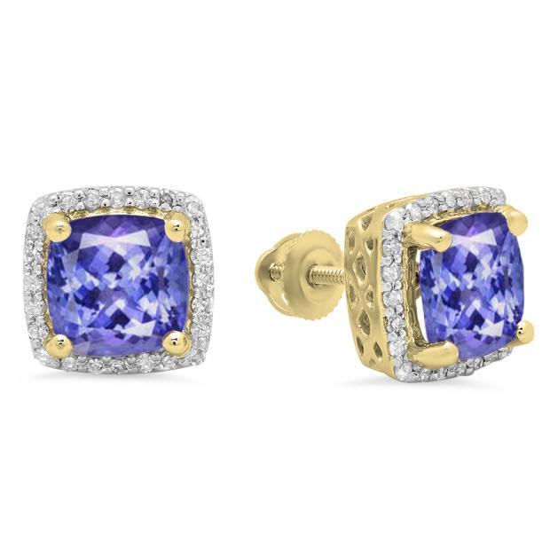 2.80 Carat (ctw) 18K Yellow Gold Cushion Cut Tanzanite & Round Cut White Diamond Ladies Square Frame Halo Stud Earrings