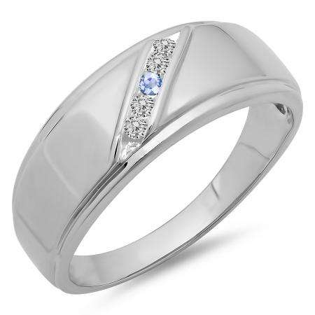 0.13 Carat (ctw) 14K White Gold Round Tanzanite & White Diamond Men