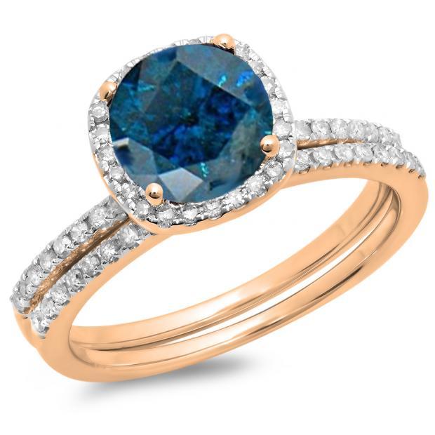 1.75 Carat (ctw) 10K Rose Gold Round Cut Blue & White Diamond Ladies Bridal Halo Engagement Ring With Matching Band Set 1 3/4 CT