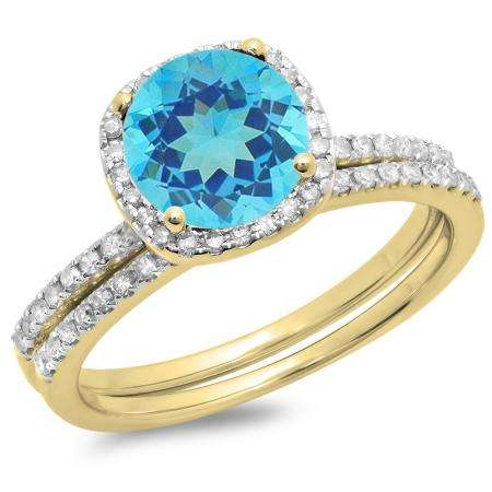 1.75 Carat (ctw) 10K Yellow Gold Round Cut Blue Topaz & White Diamond Ladies Bridal Halo Engagement Ring With Matching Band Set 1 3/4 CT