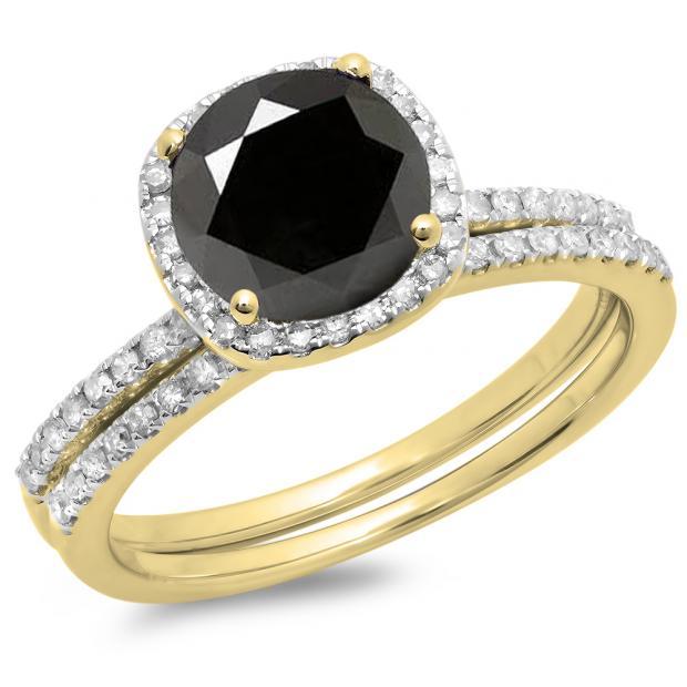 1.75 Carat (ctw) 10K Yellow Gold Round Cut Black & White Diamond Ladies Bridal Halo Engagement Ring With Matching Band Set 1 3/4 CT