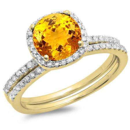 1.75 Carat (ctw) 10K Yellow Gold Round Cut Citrine & White Diamond Ladies Bridal Halo Engagement Ring With Matching Band Set 1 3/4 CT