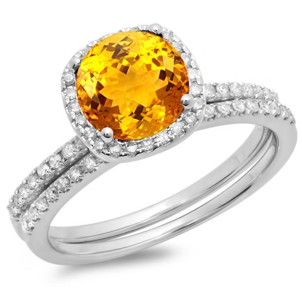 1.75 Carat (ctw) 18K White Gold Round Cut Citrine & White Diamond Ladies Bridal Halo Engagement Ring With Matching Band Set 1 3/4 CT