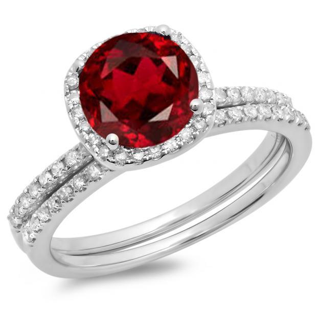 1.75 Carat (ctw) 14K White Gold Round Cut Garnet & White Diamond Ladies Bridal Halo Engagement Ring With Matching Band Set 1 3/4 CT