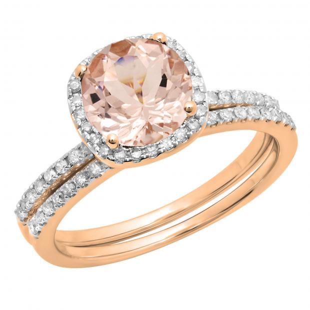 1.75 Carat (ctw) 14K Rose Gold Round Cut Morganite & White Diamond Ladies Bridal Halo Engagement Ring With Matching Band Set 1 3/4 CT