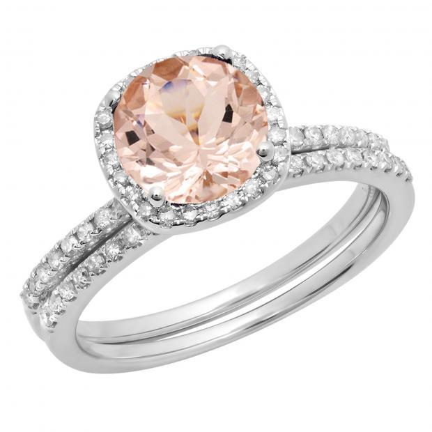 1.75 Carat (ctw) 18K White Gold Round Cut Morganite & White Diamond Ladies Bridal Halo Engagement Ring With Matching Band Set 1 3/4 CT
