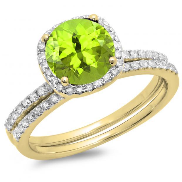 1.75 Carat (ctw) 14K Yellow Gold Round Cut Peridot & White Diamond Ladies Bridal Halo Engagement Ring With Matching Band Set 1 3/4 CT
