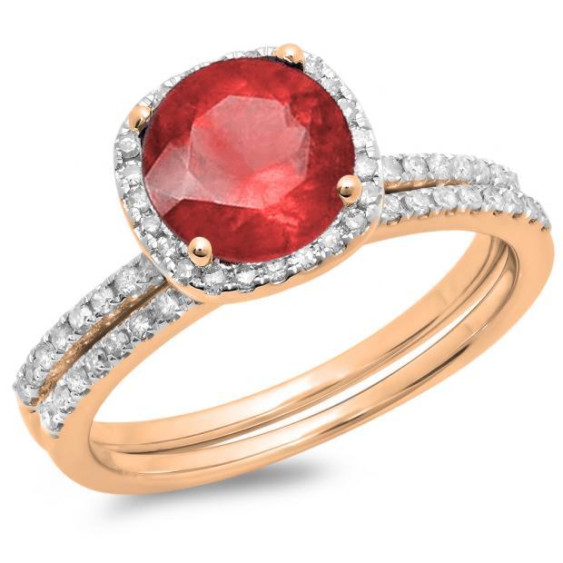 1.75 Carat (ctw) 14K Rose Gold Round Cut Ruby & White Diamond Ladies Bridal Halo Engagement Ring With Matching Band Set 1 3/4 CT