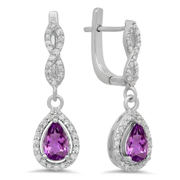 1.30 Carat (ctw) 10K White Gold Pear Cut Amethyst & Round Cut White Diamond Ladies Halo Style Dangling Drop Earrings