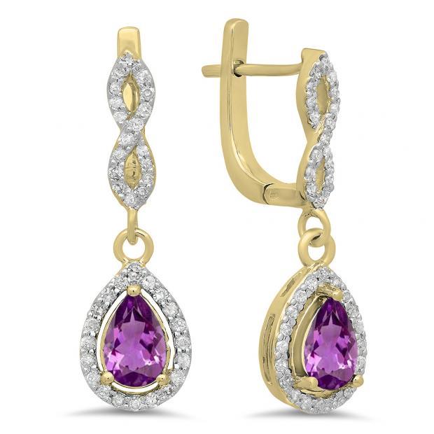 1.30 Carat (ctw) 10K Yellow Gold Pear Cut Amethyst & Round Cut White Diamond Ladies Halo Style Dangling Drop Earrings