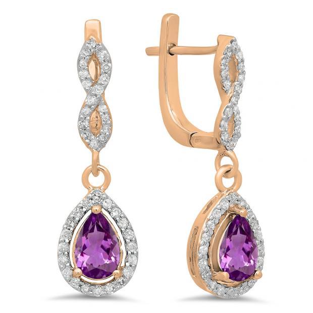 1.30 Carat (ctw) 18K Rose Gold Pear Cut Amethyst & Round Cut White Diamond Ladies Halo Style Dangling Drop Earrings