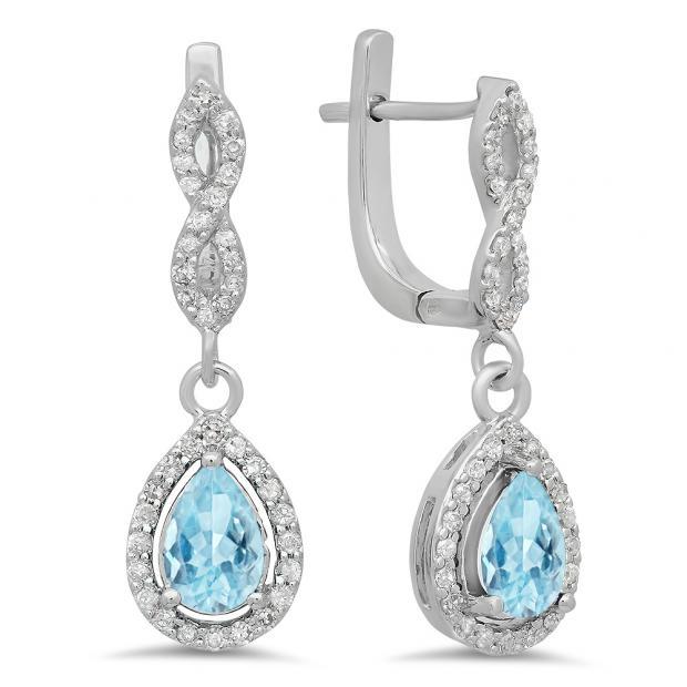 1.30 Carat (ctw) 14K White Gold Pear Cut Aquamarine & Round Cut White Diamond Ladies Halo Style Dangling Drop Earrings