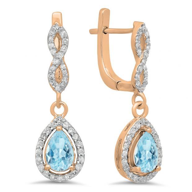 1.30 Carat (ctw) 18K Rose Gold Pear Cut Aquamarine & Round Cut White Diamond Ladies Halo Style Dangling Drop Earrings