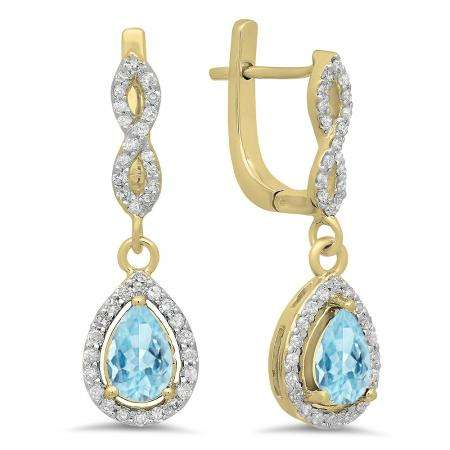 1.30 Carat (ctw) 18K Yellow Gold Pear Cut Aquamarine & Round Cut White Diamond Ladies Halo Style Dangling Drop Earrings