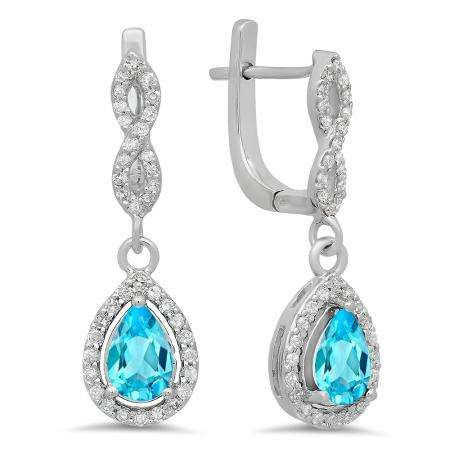 1.30 Carat (ctw) 14K White Gold Pear Cut Blue Topaz & Round Cut White Diamond Ladies Halo Style Dangling Drop Earrings
