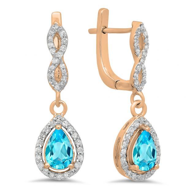 1.30 Carat (ctw) 18K Rose Gold Pear Cut Blue Topaz & Round Cut White Diamond Ladies Halo Style Dangling Drop Earrings