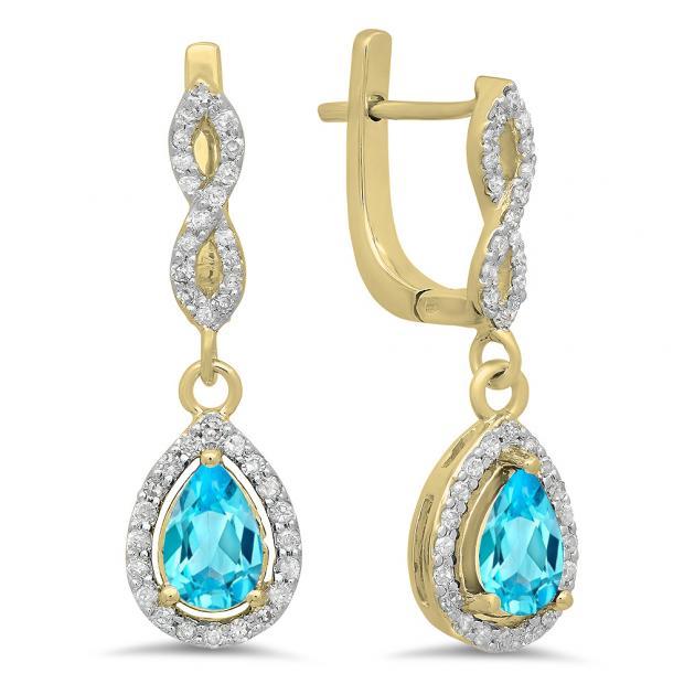 1.30 Carat (ctw) 18K Yellow Gold Pear Cut Blue Topaz & Round Cut White Diamond Ladies Halo Style Dangling Drop Earrings