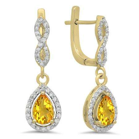 1.30 Carat (ctw) 14K Yellow Gold Pear Cut Citrine & Round Cut White Diamond Ladies Halo Style Dangling Drop Earrings