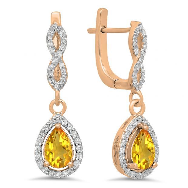 1.30 Carat (ctw) 18K Rose Gold Pear Cut Citrine & Round Cut White Diamond Ladies Halo Style Dangling Drop Earrings