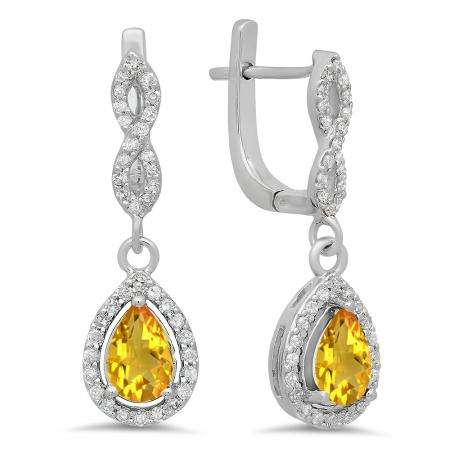 1.30 Carat (ctw) 18K White Gold Pear Cut Citrine & Round Cut White Diamond Ladies Halo Style Dangling Drop Earrings