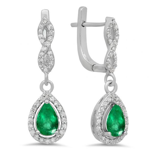 1.30 Carat (ctw) 14K White Gold Pear Cut Emerald & Round Cut White Diamond Ladies Halo Style Dangling Drop Earrings