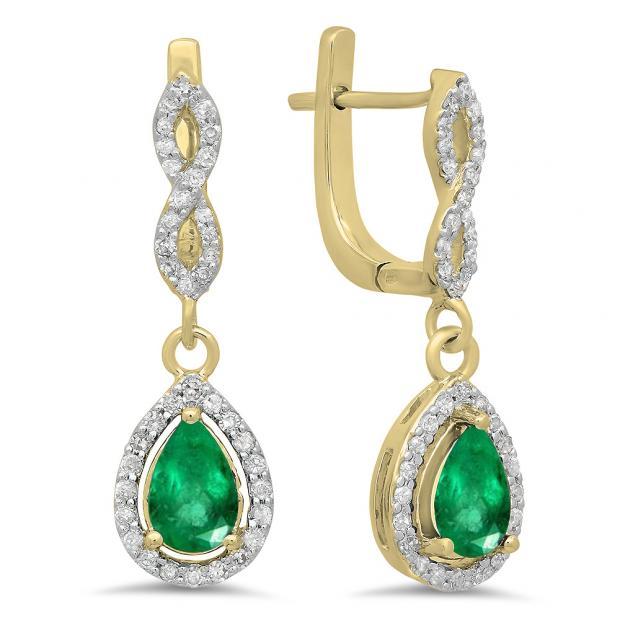 1.30 Carat (ctw) 18K Yellow Gold Pear Cut Emerald & Round Cut White Diamond Ladies Halo Style Dangling Drop Earrings