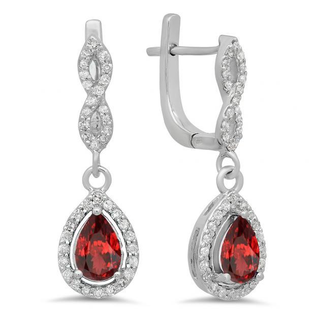 1.30 Carat (ctw) 14K White Gold Pear Cut Garnet & Round Cut White Diamond Ladies Halo Style Dangling Drop Earrings