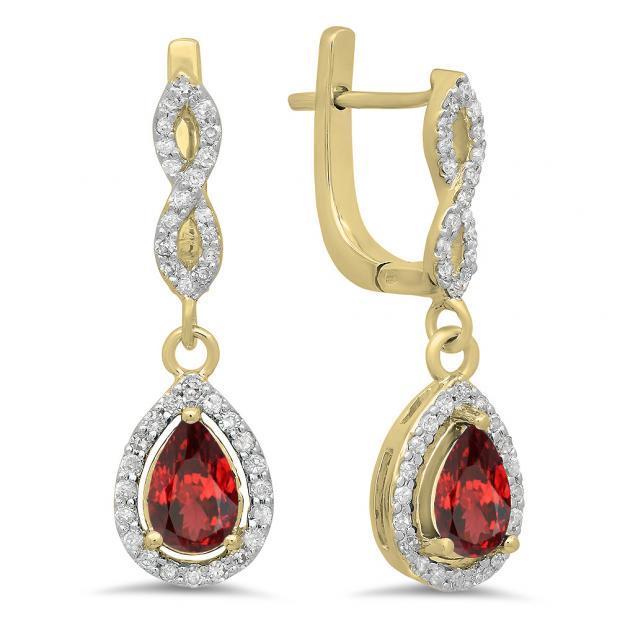 1.30 Carat (ctw) 14K Yellow Gold Pear Cut Garnet & Round Cut White Diamond Ladies Halo Style Dangling Drop Earrings