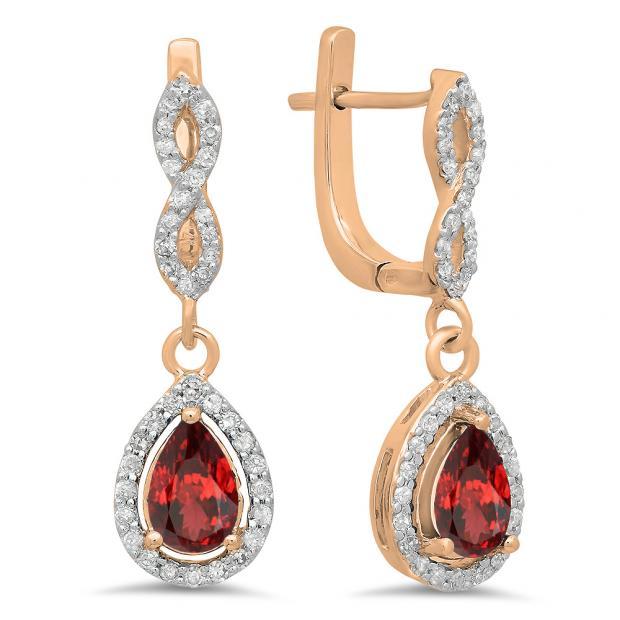 1.30 Carat (ctw) 18K Rose Gold Pear Cut Garnet & Round Cut White Diamond Ladies Halo Style Dangling Drop Earrings