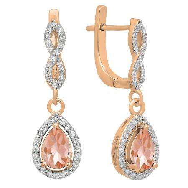 1.30 Carat (ctw) 10K Rose Gold Pear Cut Morganite & Round Cut White Diamond Ladies Halo Style Dangling Drop Earrings