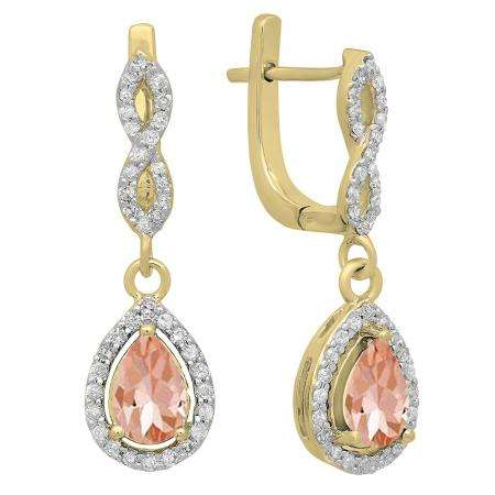 1.30 Carat (ctw) 14K Yellow Gold Pear Cut Morganite & Round Cut White Diamond Ladies Halo Style Dangling Drop Earrings