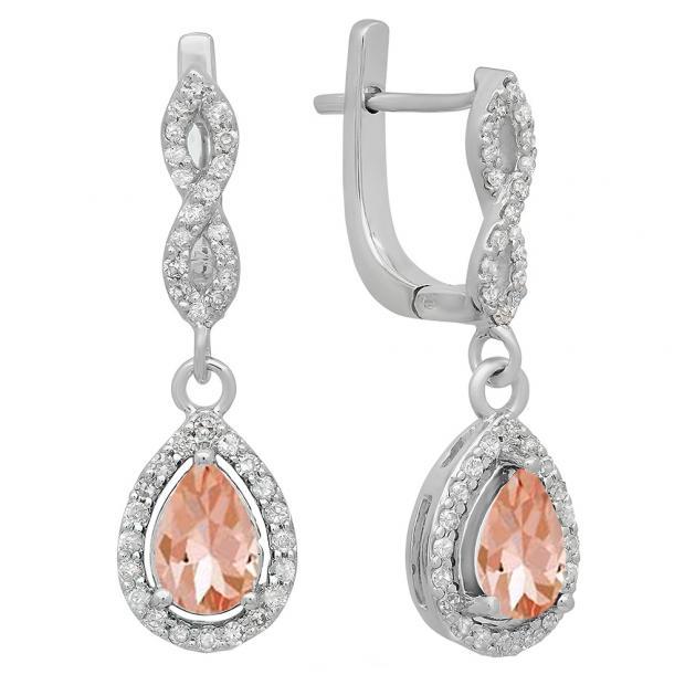 1.30 Carat (ctw) 18K White Gold Pear Cut Morganite & Round Cut White Diamond Ladies Halo Style Dangling Drop Earrings