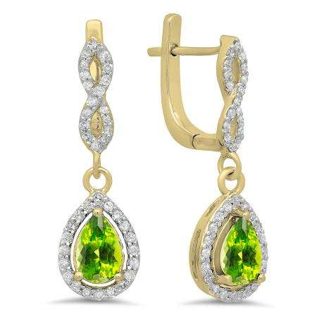 1.30 Carat (ctw) 10K Yellow Gold Pear Cut Peridot & Round Cut White Diamond Ladies Halo Style Dangling Drop Earrings