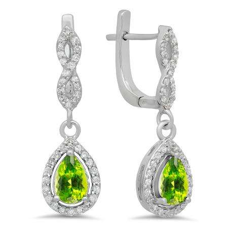 1.30 Carat (ctw) 18K White Gold Pear Cut Peridot & Round Cut White Diamond Ladies Halo Style Dangling Drop Earrings