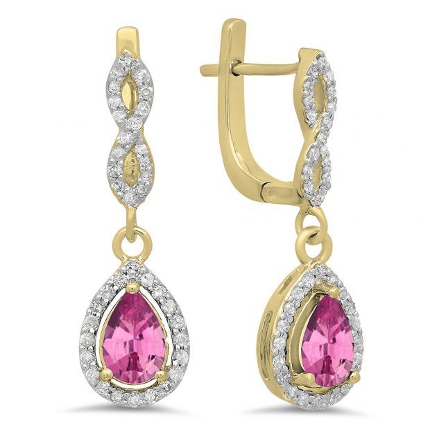 1.30 Carat (ctw) 10K Yellow Gold Pear Cut Pink Sapphire & Round Cut White Diamond Ladies Halo Style Dangling Drop Earrings