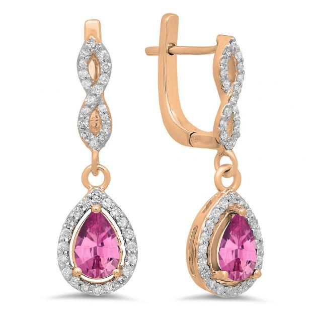 1.30 Carat (ctw) 14K Rose Gold Pear Cut Pink Sapphire & Round Cut White Diamond Ladies Halo Style Dangling Drop Earrings