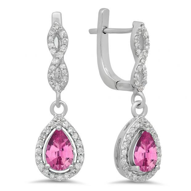 1.30 Carat (ctw) 14K White Gold Pear Cut Pink Sapphire & Round Cut White Diamond Ladies Halo Style Dangling Drop Earrings
