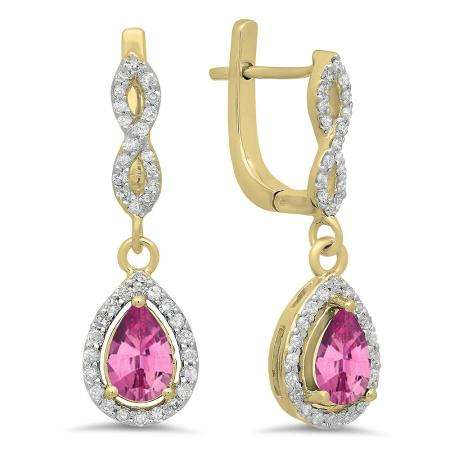 1.30 Carat (ctw) 14K Yellow Gold Pear Cut Pink Sapphire & Round Cut White Diamond Ladies Halo Style Dangling Drop Earrings