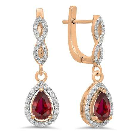 1.30 Carat (ctw) 18K Rose Gold Pear Cut Ruby & Round Cut White Diamond Ladies Halo Style Dangling Drop Earrings