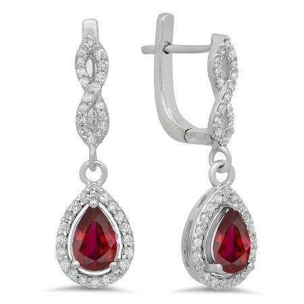 1.30 Carat (ctw) 18K White Gold Pear Cut Ruby & Round Cut White Diamond Ladies Halo Style Dangling Drop Earrings
