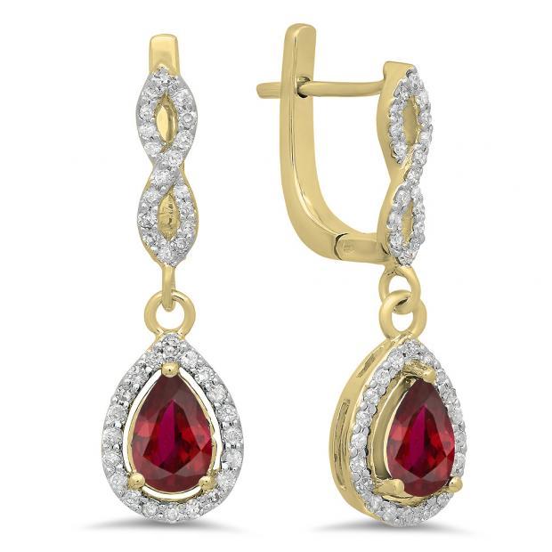 1.30 Carat (ctw) 18K Yellow Gold Pear Cut Ruby & Round Cut White Diamond Ladies Halo Style Dangling Drop Earrings